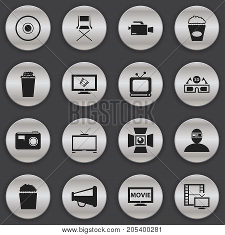 Set Of 16 Editable Cinema Icons. Includes Symbols Such As Popcorn, Cinema Snack, Spectator And More