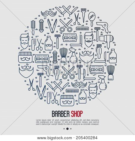 Monochrome barber shop concept in circle with thin line icons of shaving accessories. Vector illustration for web page, banner, print media.