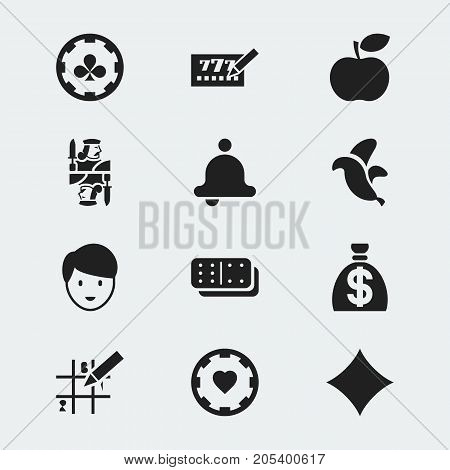 Set Of 12 Editable Casino Icons. Includes Symbols Such As Ring, Casino Worker, Diamond Cards And More