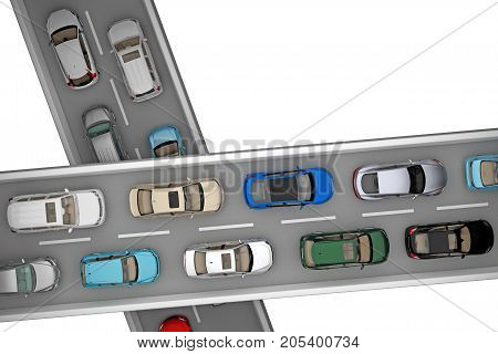 background of traffic of cars on cross level road from top view. 3d rendering