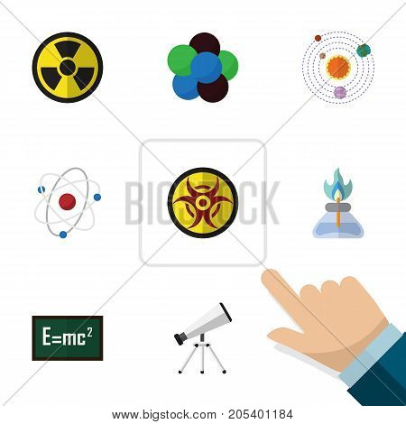 Flat Icon Study Set Of Irradiation, Danger, Theory Of Relativity And Other Vector Objects