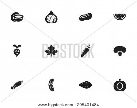 Set Of 12 Editable Cookware Icons. Includes Symbols Such As Nectarine, Carrot, Almond And More