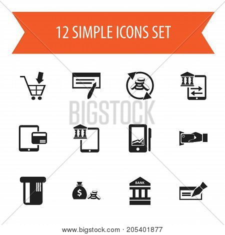 Set Of 12 Editable Investment Icons. Includes Symbols Such As Banknote, Internet Sale, Payment And More