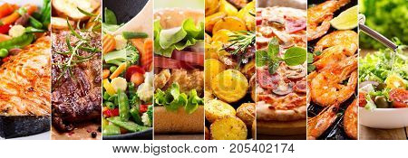 collage of close up of various food products