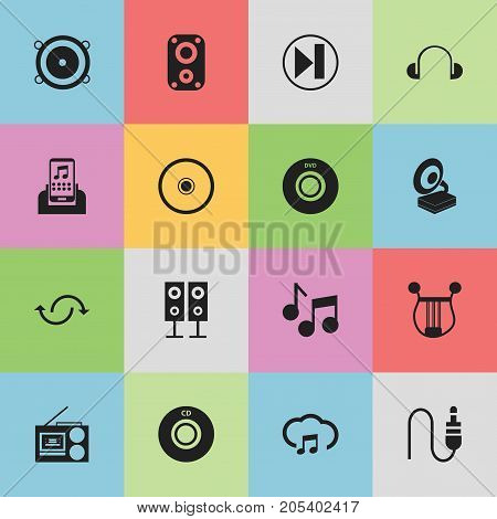 Set Of 16 Editable Melody Icons. Includes Symbols Such As Forward, Audio Note, Music Speaker And More