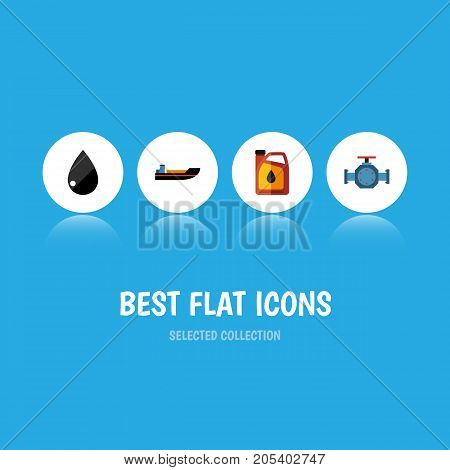 Flat Icon Petrol Set Of Jerrycan, Droplet, Flange And Other Vector Objects