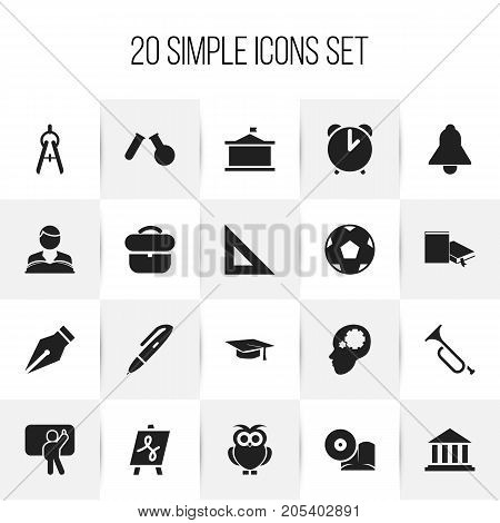 Set Of 20 Editable Education Icons. Includes Symbols Such As Propeller, Pen, Trigon Straightedge And More