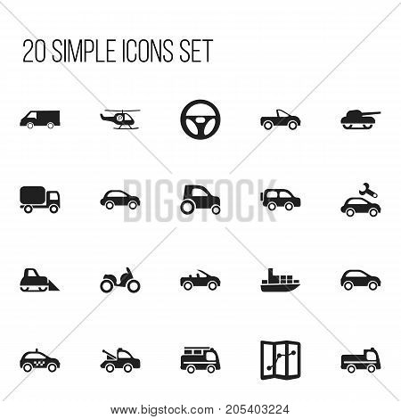 Set Of 20 Editable Shipment Icons. Includes Symbols Such As Auto, Lorry, Bogie And More