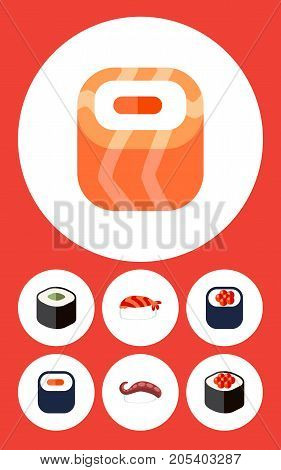 Flat Icon Salmon Set Of Eating, Sashimi, Maki And Other Vector Objects