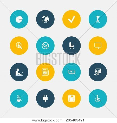 Set Of 16 Editable Office Icons. Includes Symbols Such As Circle Diagram, Control, Worker In Laptop And More