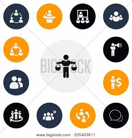 Set Of 13 Editable Community Icons. Includes Symbols Such As Finance Director, Friendship, Leadership And More