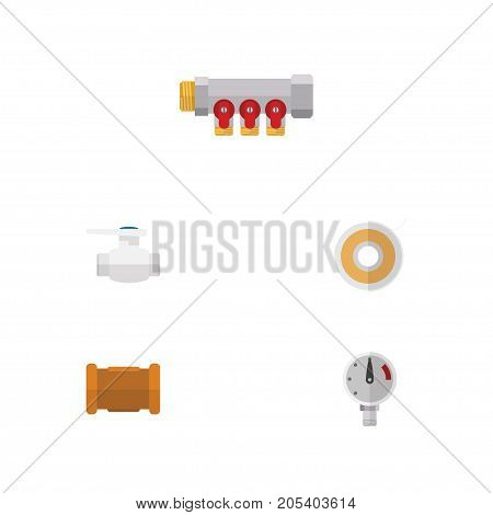 Flat Icon Sanitary Set Of Flange, Pipework, Pipe And Other Vector Objects