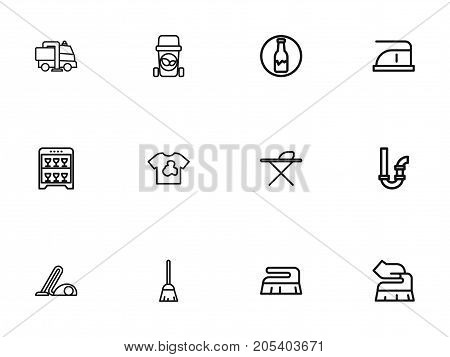 Set Of 12 Editable Cleaning Outline Icons. Includes Symbols Such As Organic Residues, Brush, Metal Board And More