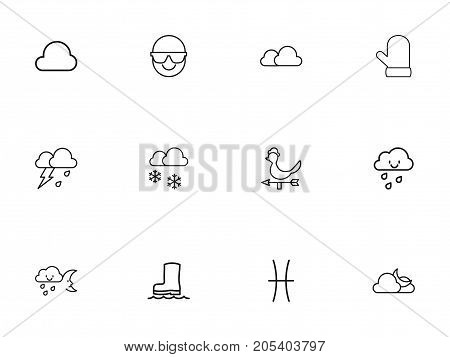 Set Of 12 Editable Air Outline Icons. Includes Symbols Such As Winter, Cloud, Hail And More