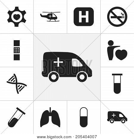 Set Of 12 Editable Clinic Icons. Includes Symbols Such As Heart, Clinic, Drug And More