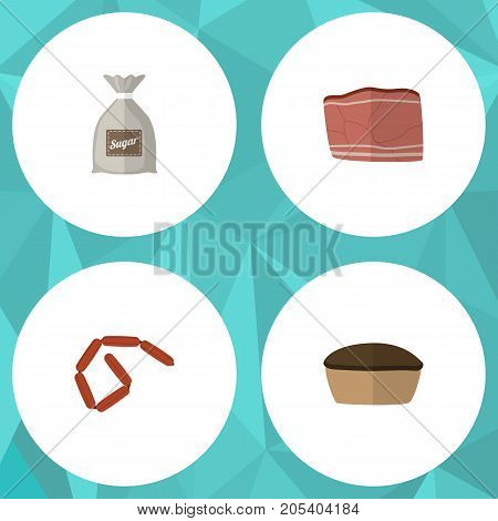 Flat Icon Food Set Of Tart, Sack, Bratwurst And Other Vector Objects