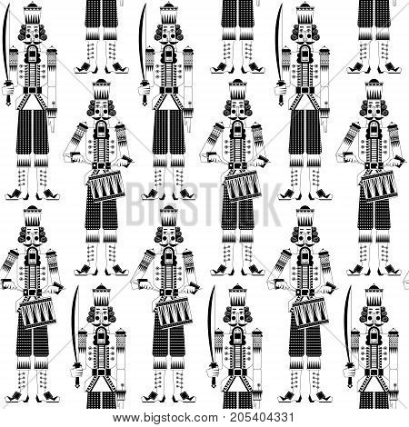 Сhristmas Nutcrackers. Seamless background pattern. Black and white. Vector illustration.