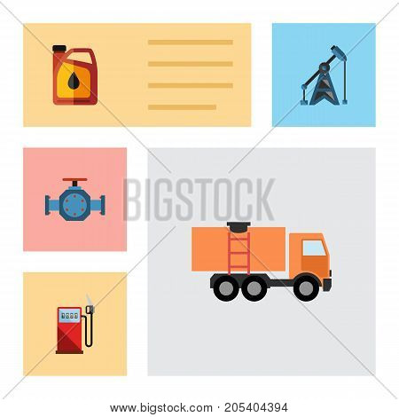Flat Icon Fuel Set Of Petrol, Rig, Van And Other Vector Objects