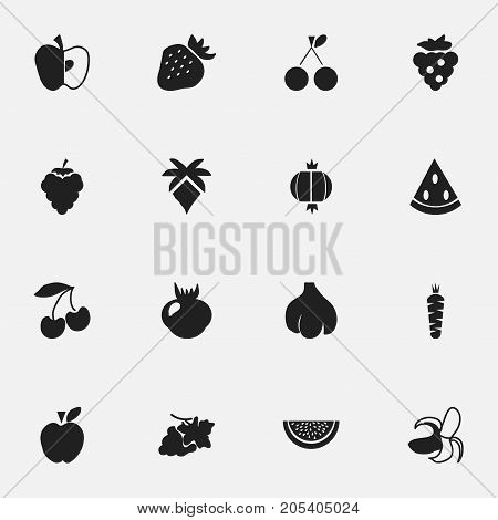 Set Of 16 Editable Fruits Icons. Includes Symbols Such As Banana, Cherry, Muskmelon And More