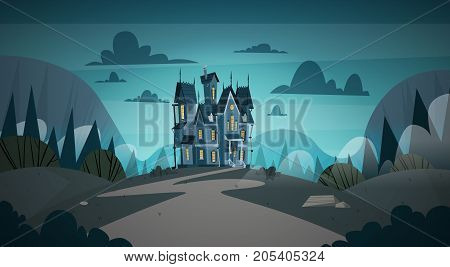 Gothic Castle House In Moonlight Scary Building With Ghosts Halloween Holiday Concept Flat Vector Illustration