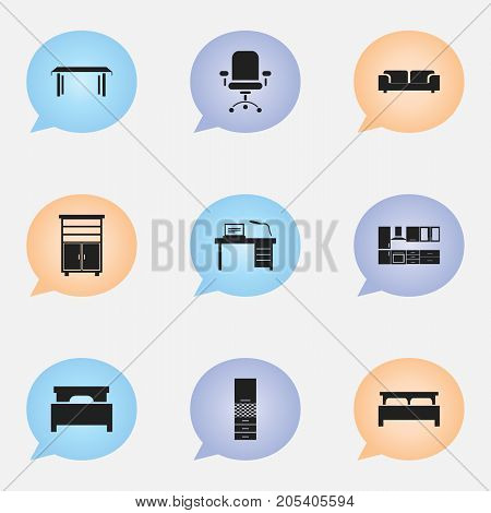 Set Of 9 Editable Furnishings Icons. Includes Symbols Such As Bed, Material Cupboard, Trestle And More