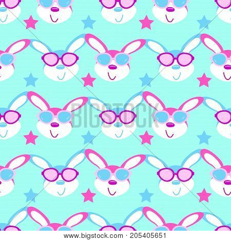 cute hares with glasses child seamless vector pattern