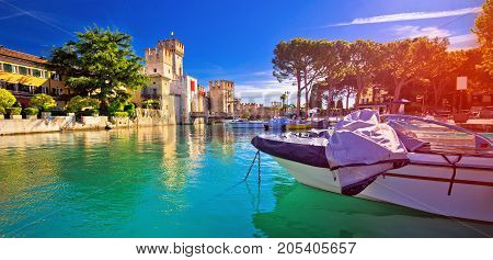 Lago Di Garda Town Of Sirmione Turquoise Watefrront Panoramic View