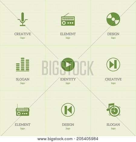 Set Of 9 Editable Multimedia Icons. Includes Symbols Such As Play Button, Broadcasting, Radio Mike And More
