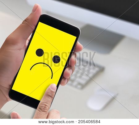 Depressive Emotions Concept,   Smiley Face Emoticon Printed Depression And Sad Pessimistic Face Sadn
