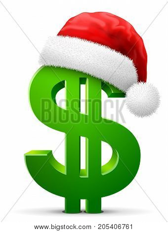 Dollar symbol in red Santa Claus hat. Christmas hat is put on money sign. Best vector illustration for christmas banking new years day business