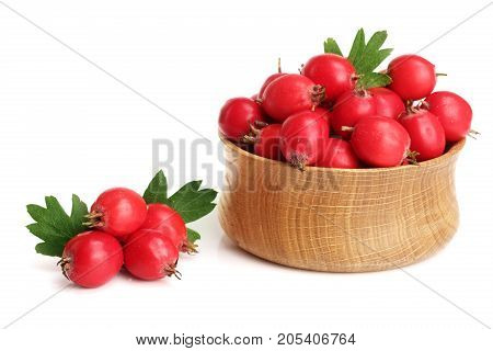 Hawthorn berry with leaf in a wooden bowl isolated on white background close-up.