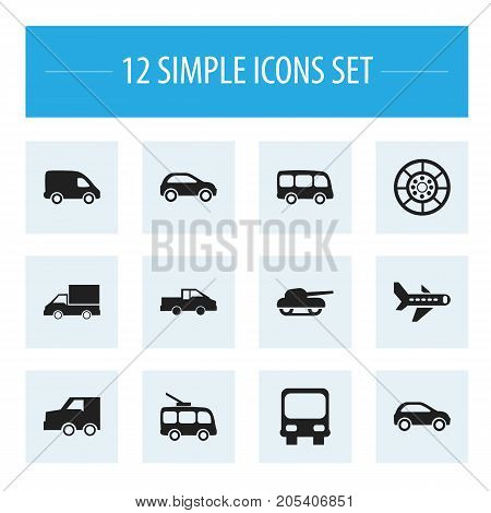 Set Of 12 Editable Shipment Icons. Includes Symbols Such As Weapon, Airplane, Tour Bus And More