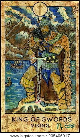 Viking. King of swords. Fantasy Creatures Tarot full deck. Minor arcana. Hand drawn graphic illustration, engraved colorful painting with occult symbols
