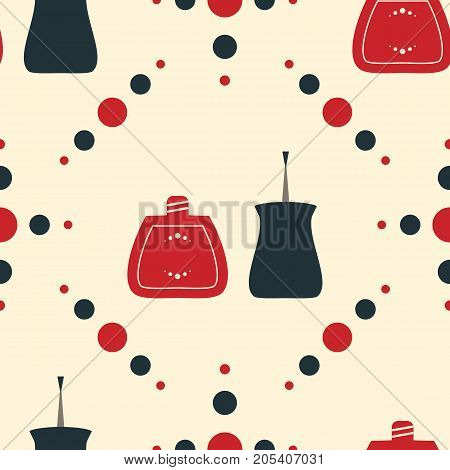 Vintage old style illustration. Seamless pattern of nail polish bottles nail brush and lacquer drops. Vector illustration for spa manicure salon