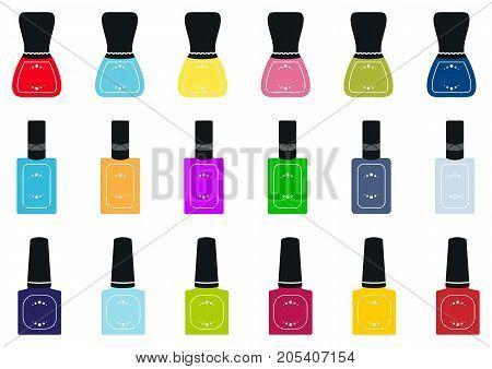 Set of nail polish bottles. Vector illustration