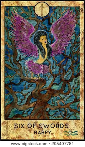 Harpy. Six of swords. Fantasy Creatures Tarot full deck. Minor arcana. Hand drawn graphic illustration, engraved colorful painting with occult symbols