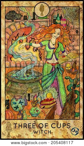 Witch. Three of cups. Fantasy Creatures Tarot full deck. Minor arcana. Hand drawn graphic illustration, engraved colorful painting with occult symbols. Halloween background