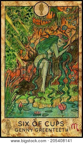 Genny Greenteeth. Six of cups. Fantasy Creatures Tarot full deck. Minor arcana. Hand drawn graphic illustration, engraved colorful painting with occult symbols. Halloween background