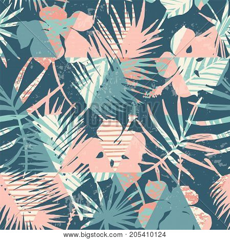 Seamless exotic pattern with tropical plants and geometric background. Hand draw texture.