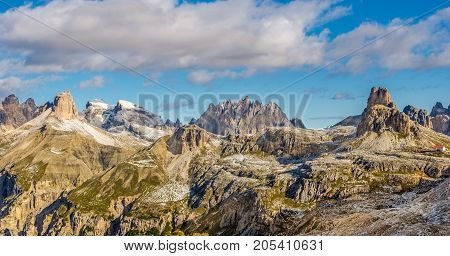 DOLOMITES,ITALY - SEPTEMBER 15,2017 - View to valley from Forcella Lavaredonear Tre Cime di Lavaredo in Dolomites. The Dolomites are a mountain range located in northeastern Italy.