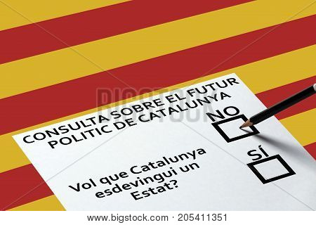 Bulletin for voting on Catalonia sign background. Democracy Freedom Independence Concept