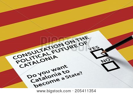 Bulletin for voting on the Catalonia background. Referendum Democracy Freedom Independence Concept