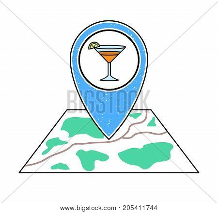 Textured blue geotag icon with a cocktail glass symbol pointing at a map. Bar night club party icon on a city plan.UImobile devicesmartphone appwebsite vector illustration.Weekend nightlife sign.