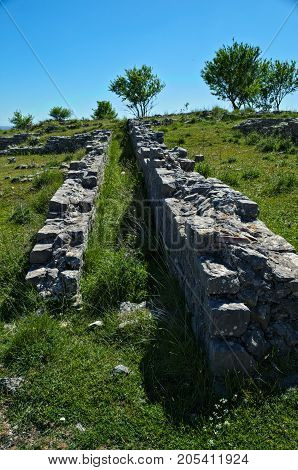 Stone remains on Bribir fortress in Dalmatia
