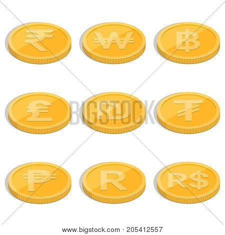 A set of coins of symbols of currencies of the countries of the world on the isolated white background.Signs rupee baht lira shekel dollar tugrik peso randwon.Coins in isometric 3D style.Vector illustration.