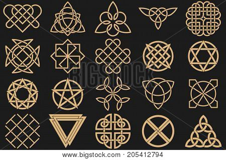 Set of ancient symbols executed in Celtic style. Secret signs knots interlacings. Concept of secret and origin of mankind. Mascots charms executed in the form of logos. Magic signs. Vector illustration.