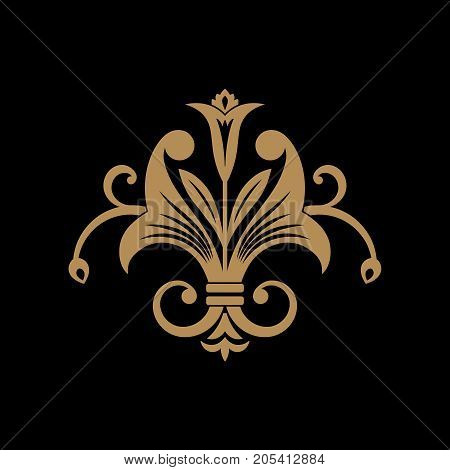 Gold flower element of design in east style on a black background.Graphic royal ornament. Damask pattern. Vector illustration.
