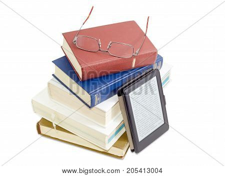 Stack of ordinary paper books and modern classic men's eyeglasses in metal frame on it on a white background