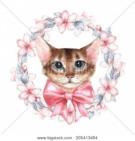 Cat. Watercolor illustration. Wreath with flowers