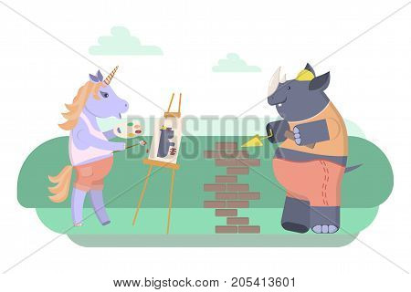 Concept of a rhinoceros and unicorn. Cute characters a painter and a bricklayer builder . Vector illustration eps 10